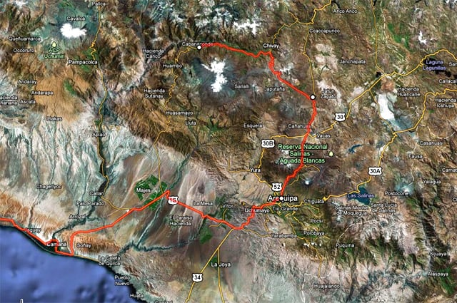 Map of route from Lima to Colca Canyon via Arequipa