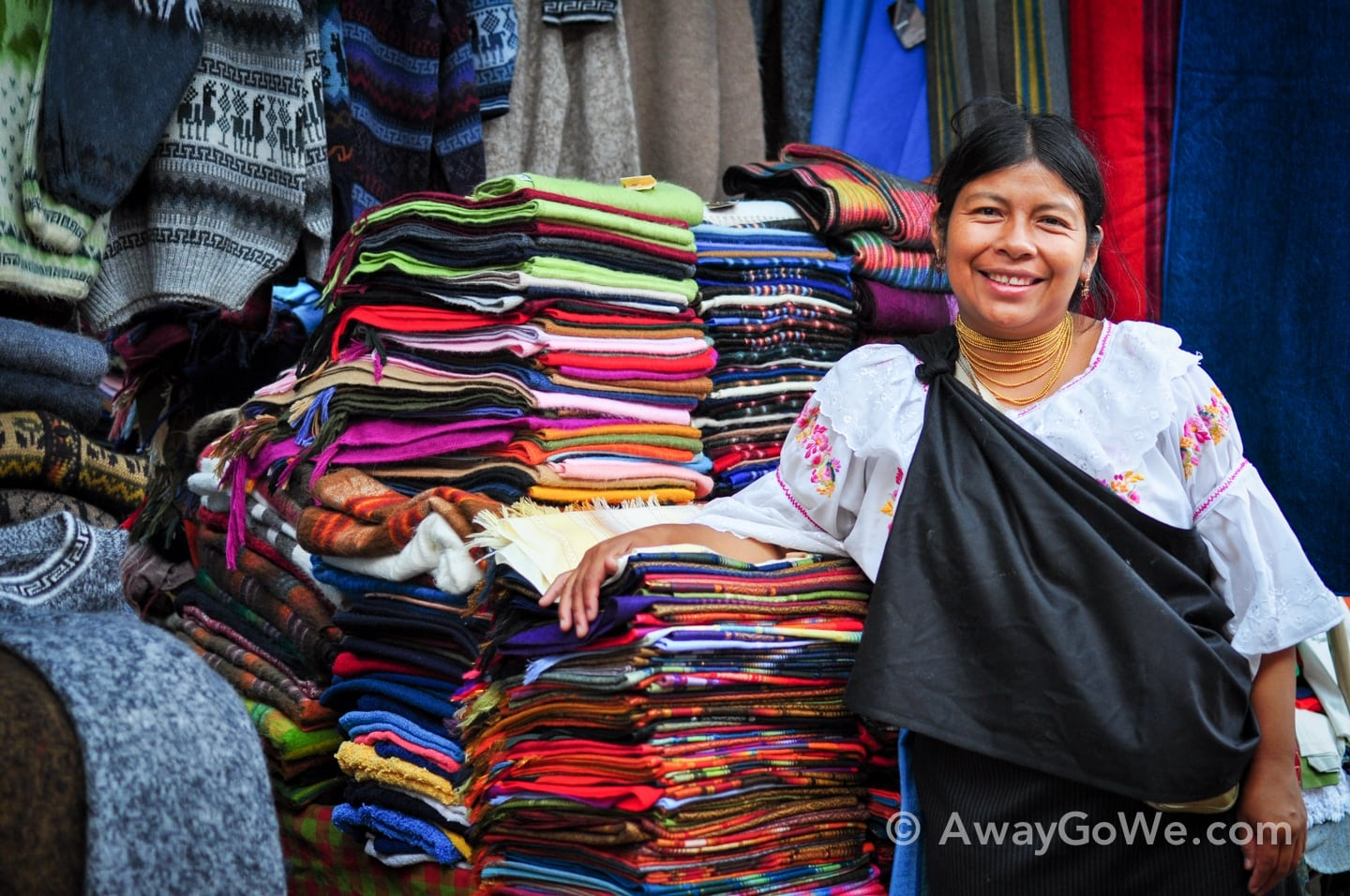 Andean woman with textiles