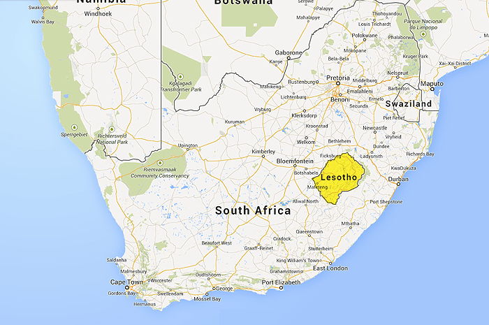 Map of South Africa and Lesotho