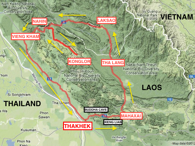 map of the thakhek loop route in laos