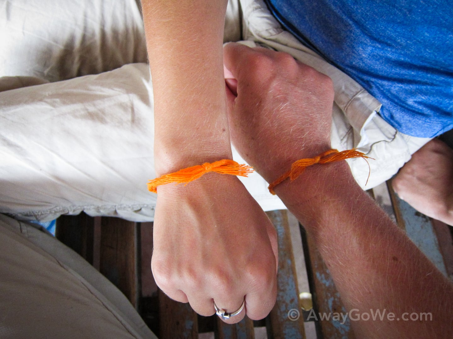 orange bracelets from buddha cave