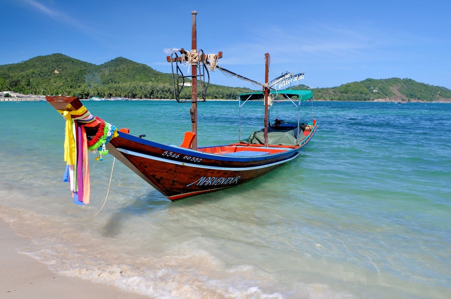 long tail boat Chaloklum Beach Koh Phangan Thailand