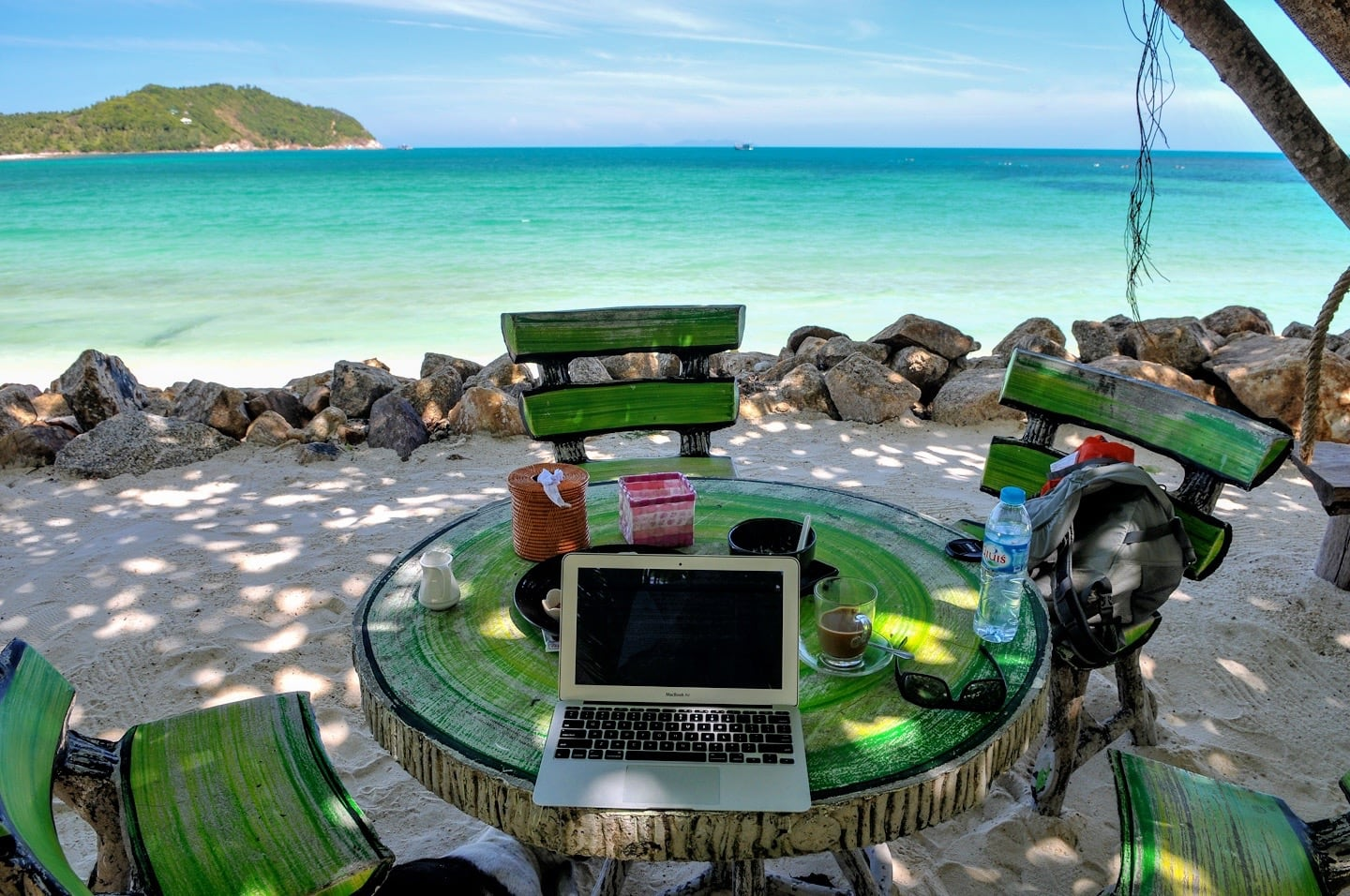 mobile office Chaloklum Beach Koh Phangan Thailand