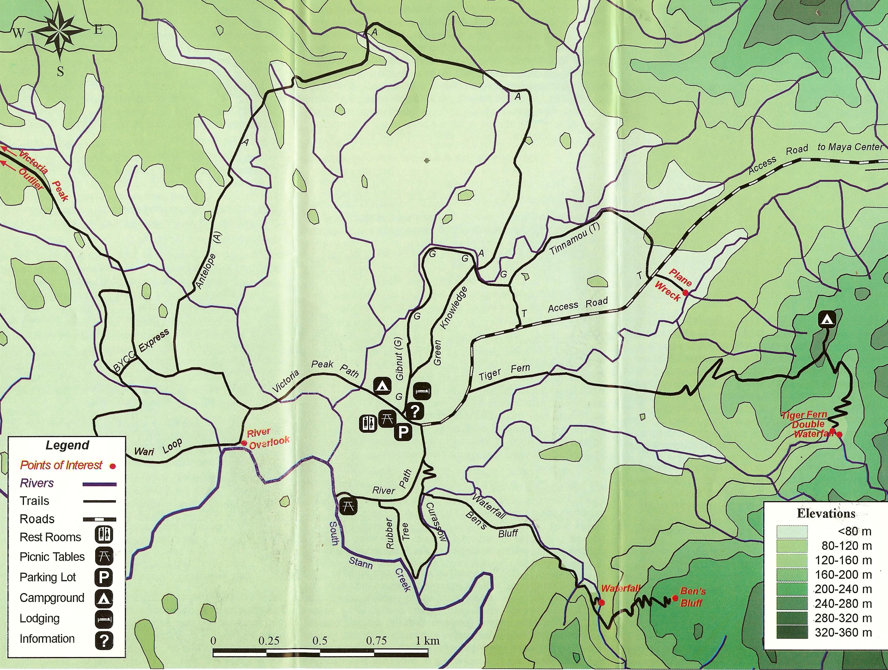 cockscomb basin map