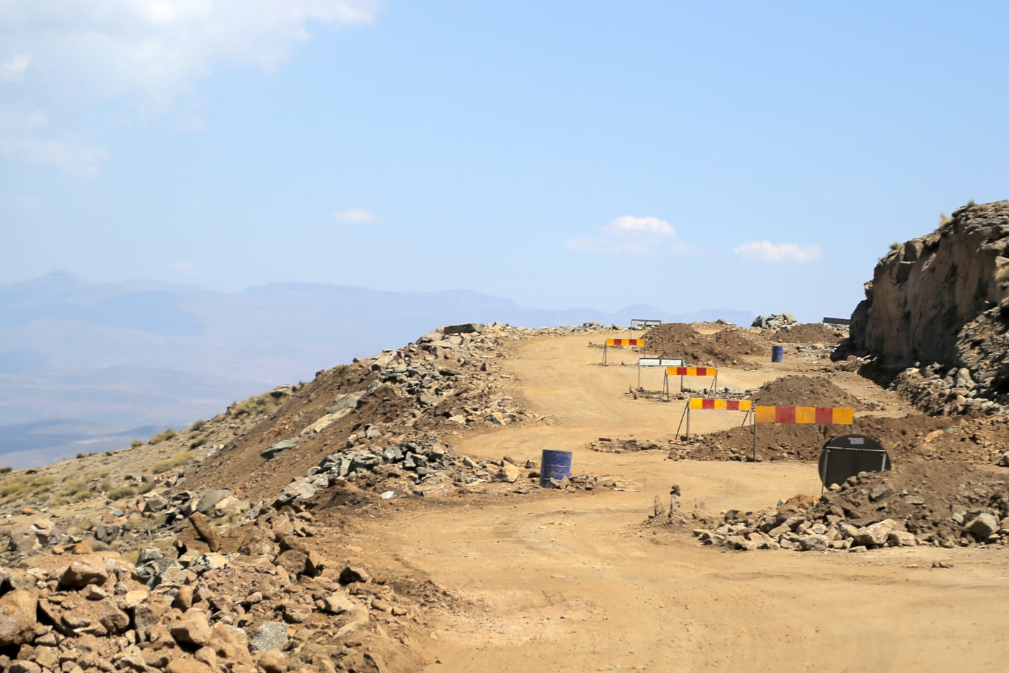 road under construction in Lesotho