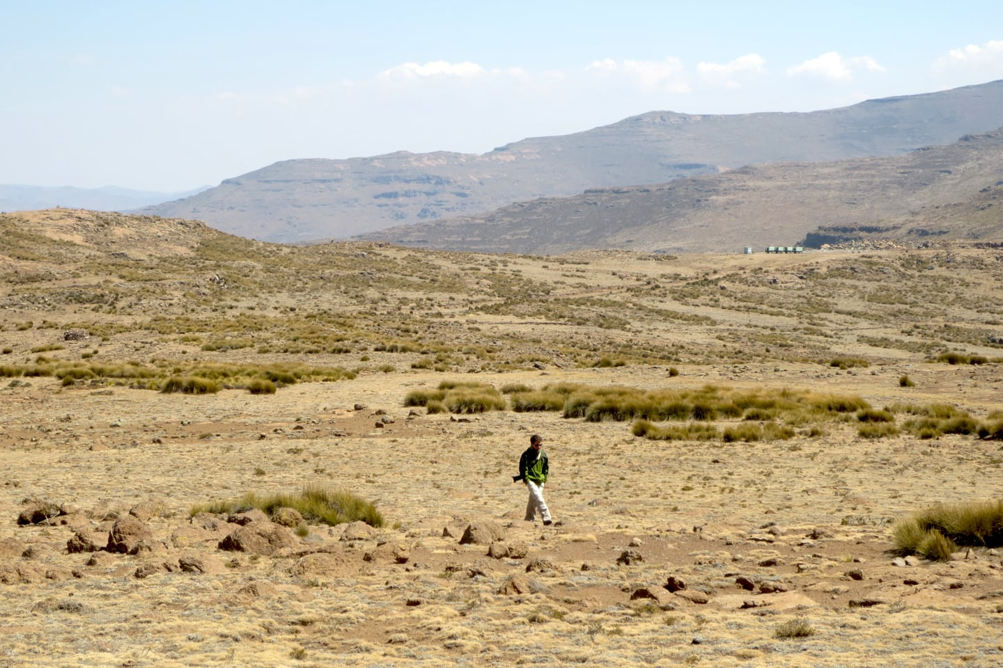 walking on high elevation plateau in Lesotho