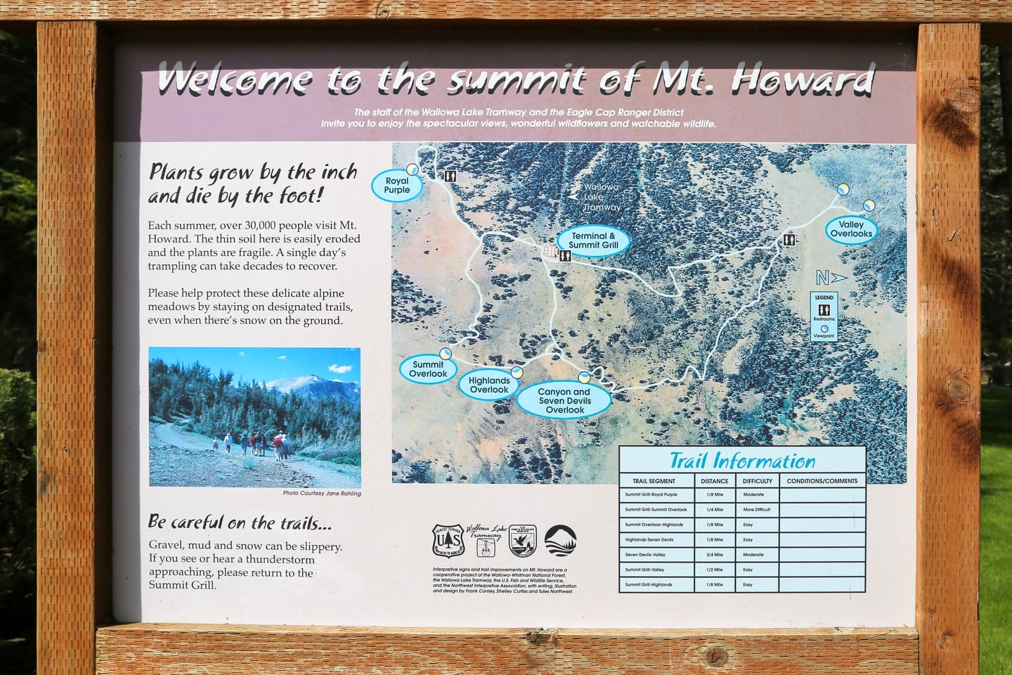 Wallowa Lake Tramway Mt Howard summit map