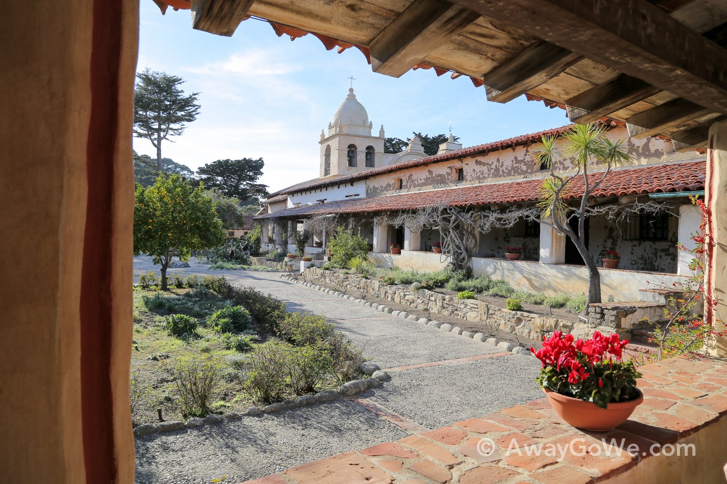 central courtyard plaza Carmel Mission California