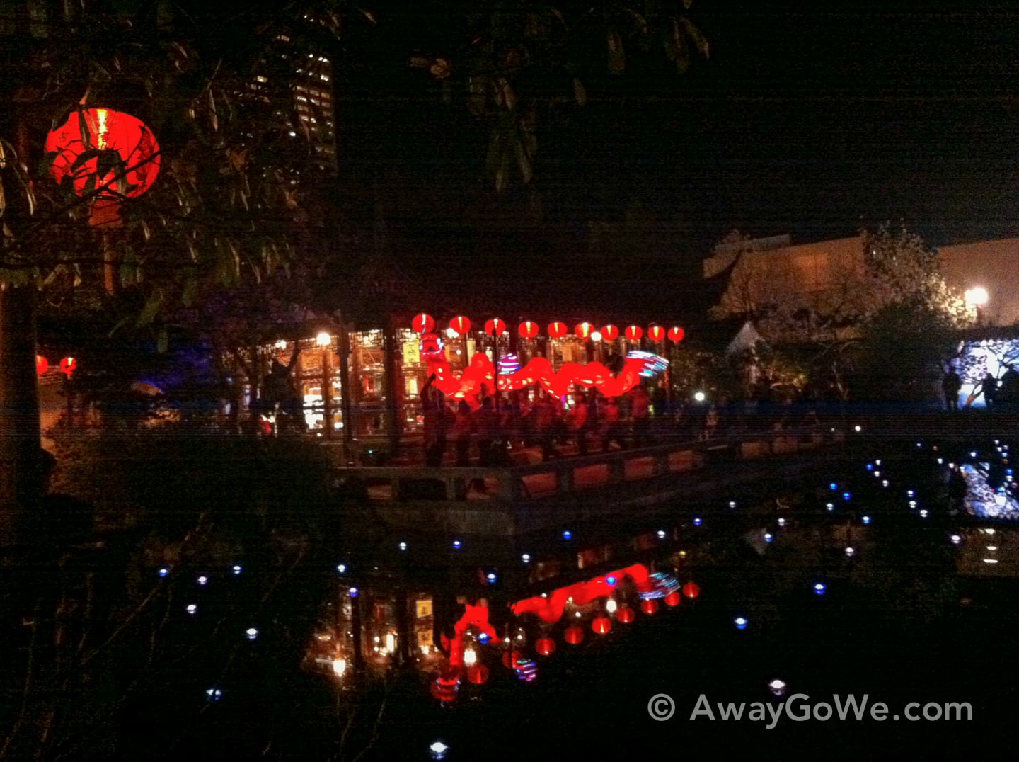 Lan Su Chinese Garden in Portland Oregon by night with red lanterns