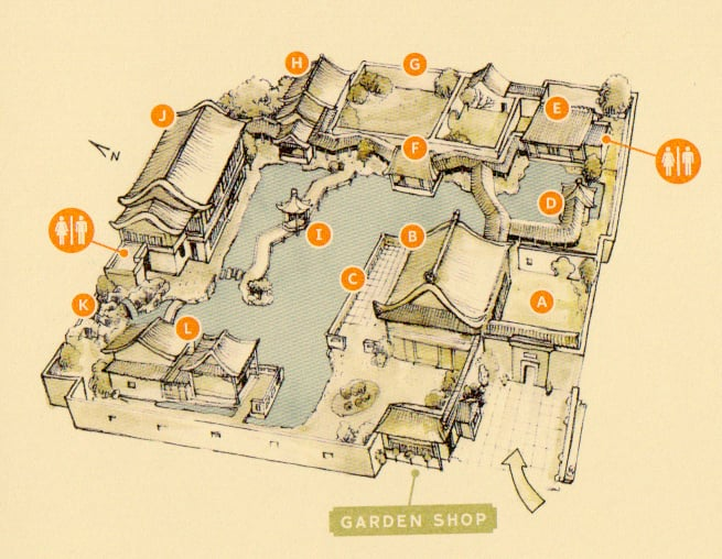 map of Lan Su Chinese Garden