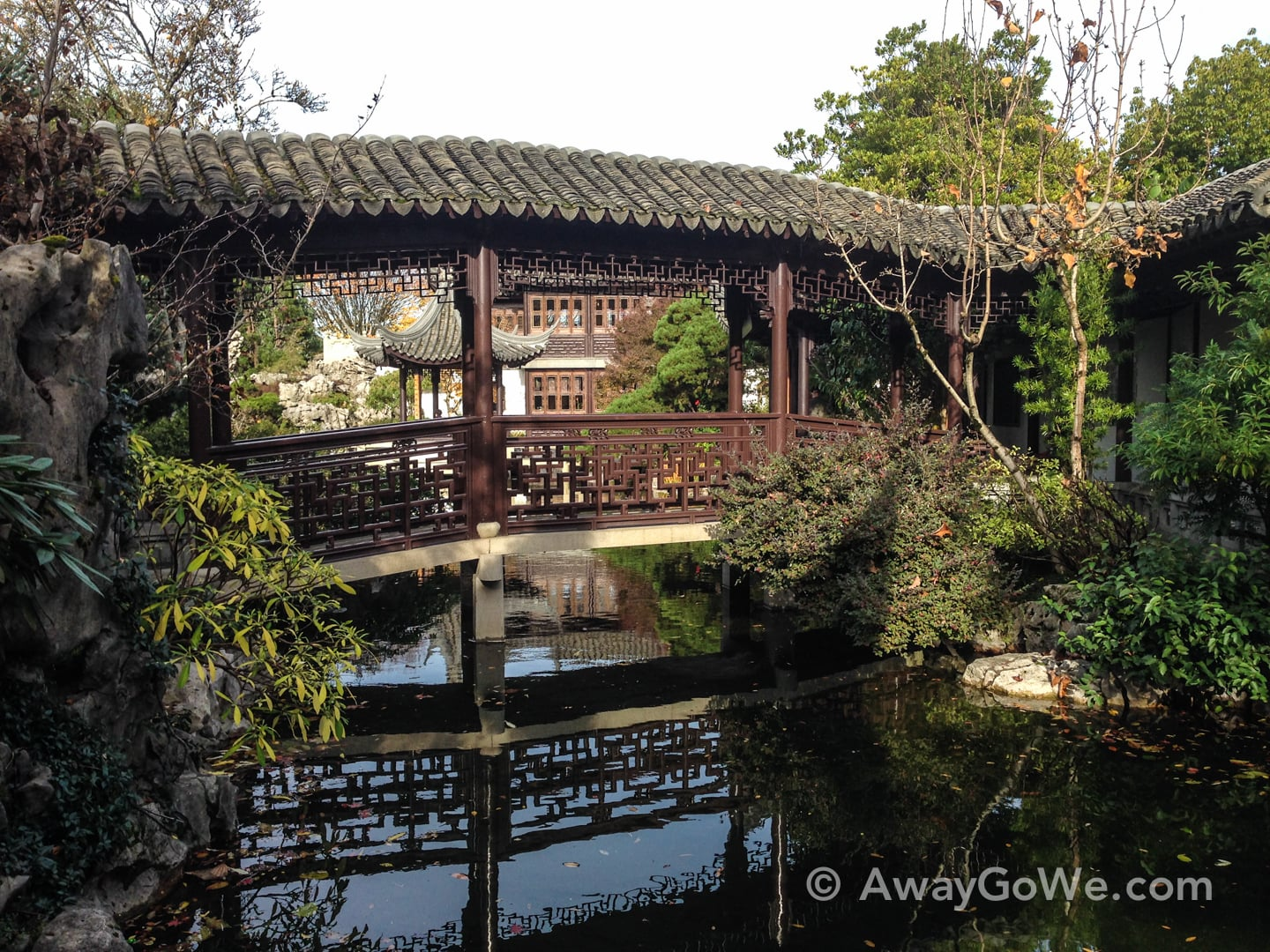 bridge over pond Lan Su Chinese Garden