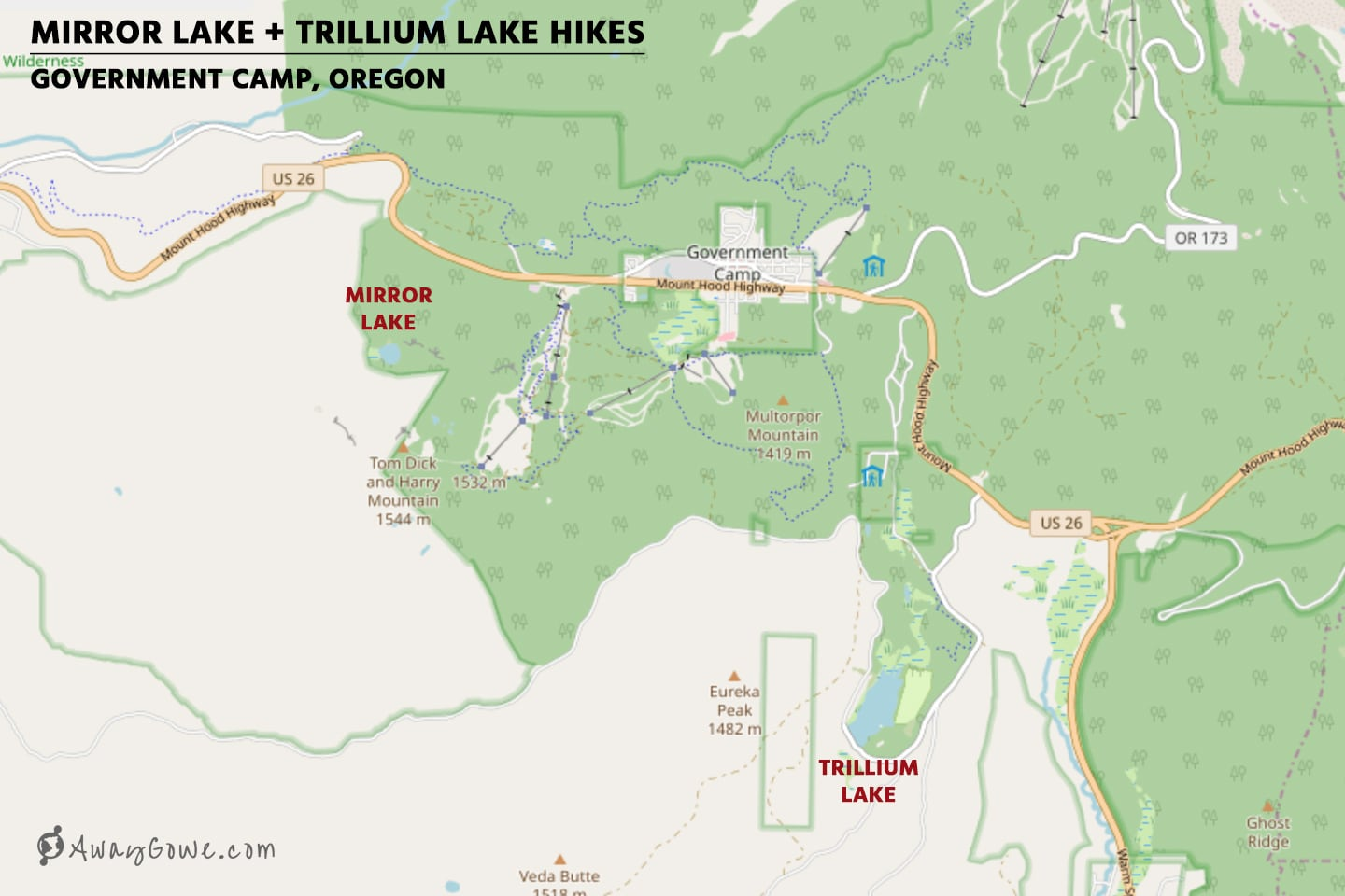 mirror lake trillium lake hike map