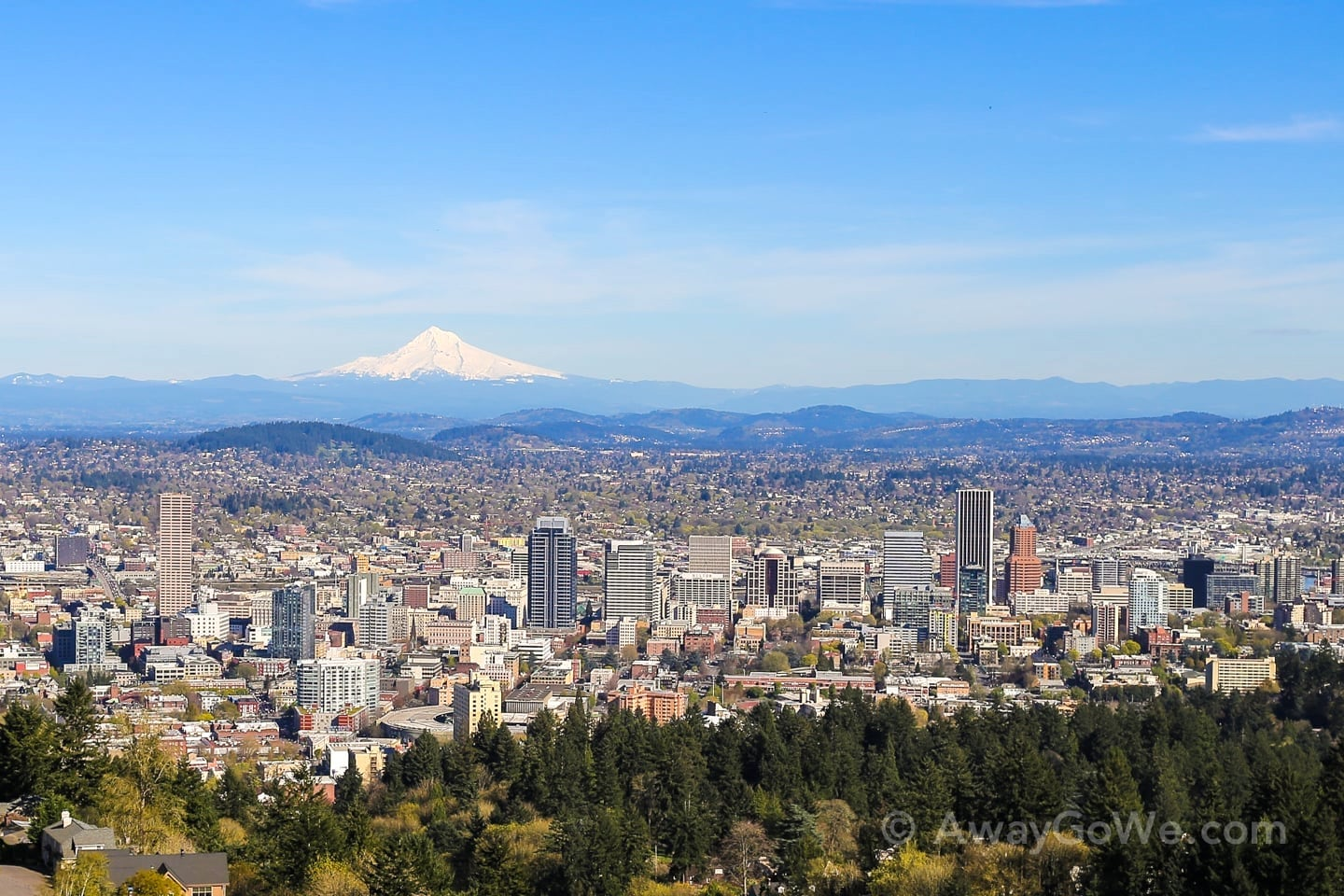 Pittock Mansion viewpoint Mount Hood downtown Portland