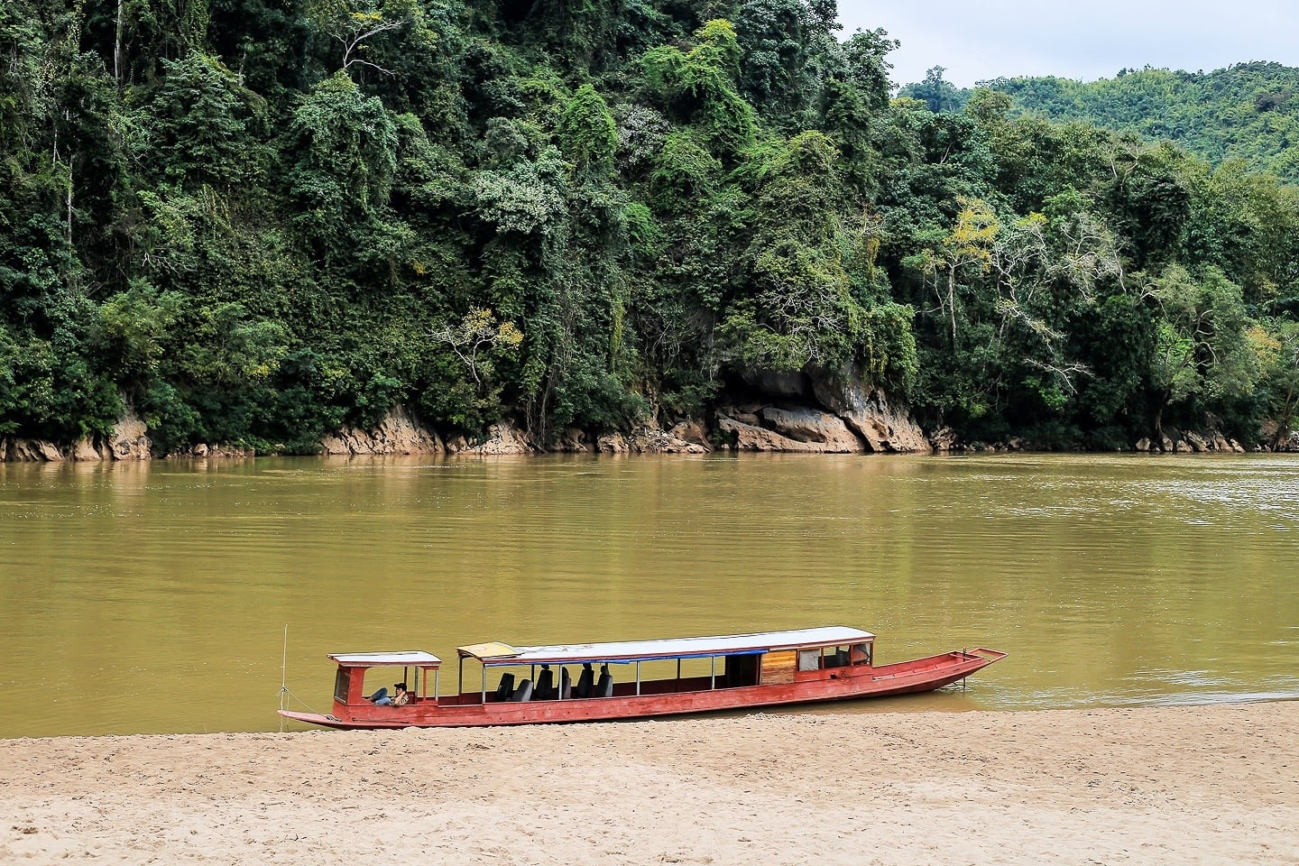 wooden motorboat at Sop Cham on the Nam Ou in Laos