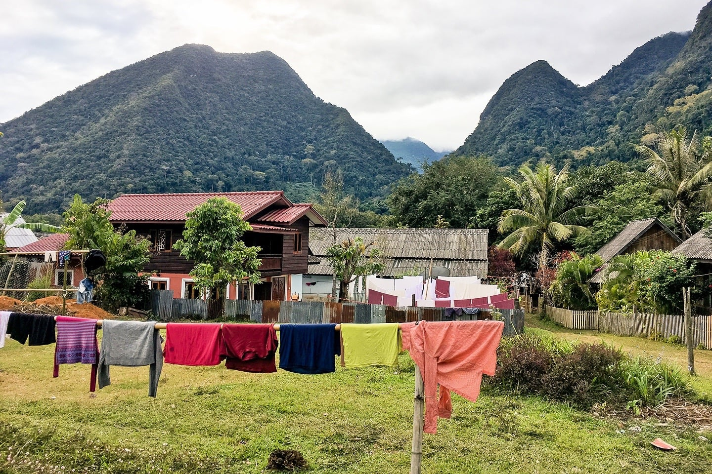 clothes drying in the sun in Muang Ngoi Neua Laos