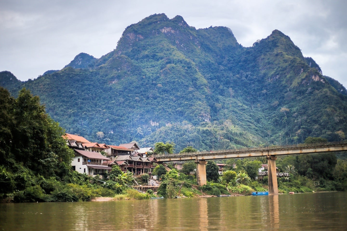 Nong Khiaw bridge and karst from Nam Ou