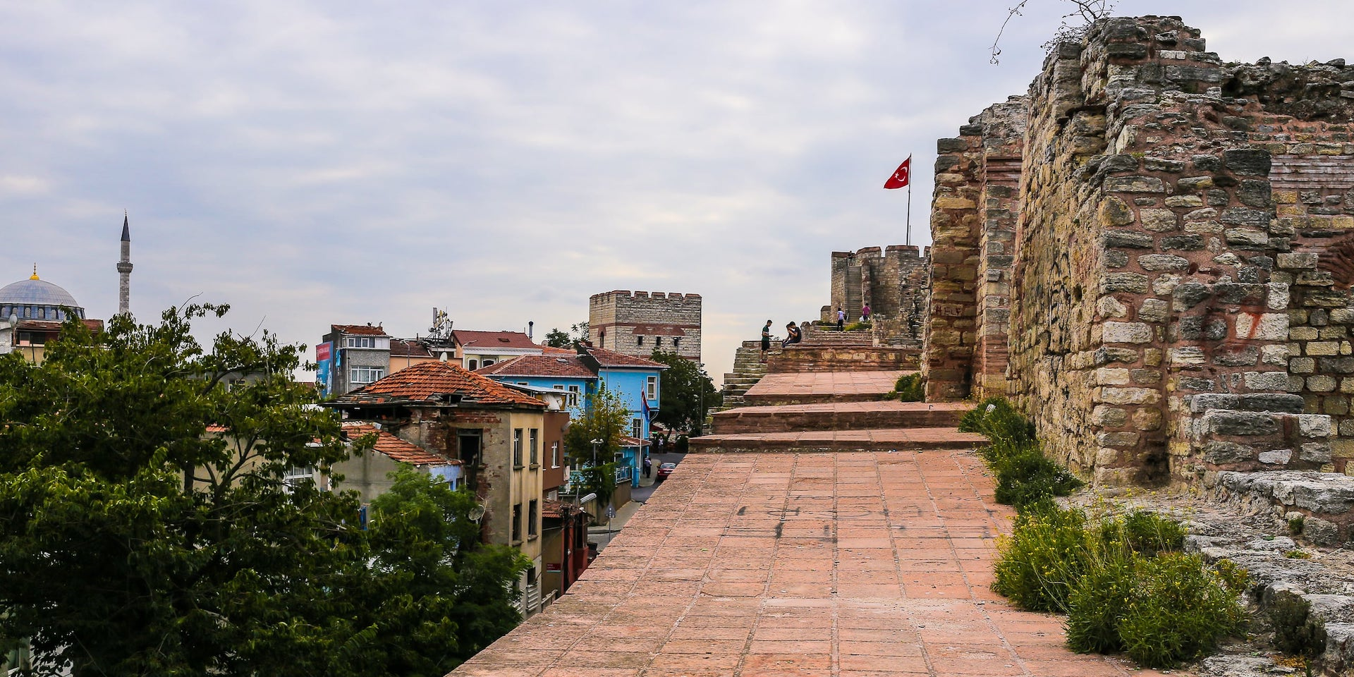 walking on top of Istanbul Walls of Constantinople
