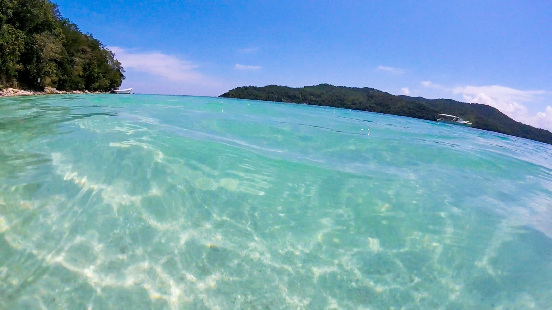 crystal clear waters of Pandan Pandan Island (Borneo)