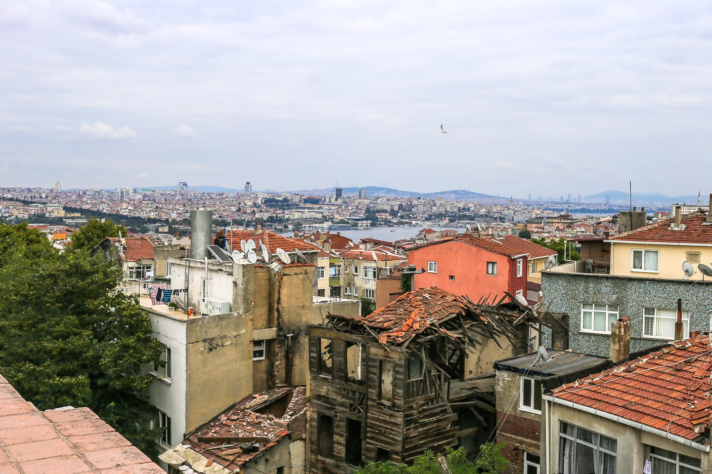 view of Istanbul neighborhood from city walls