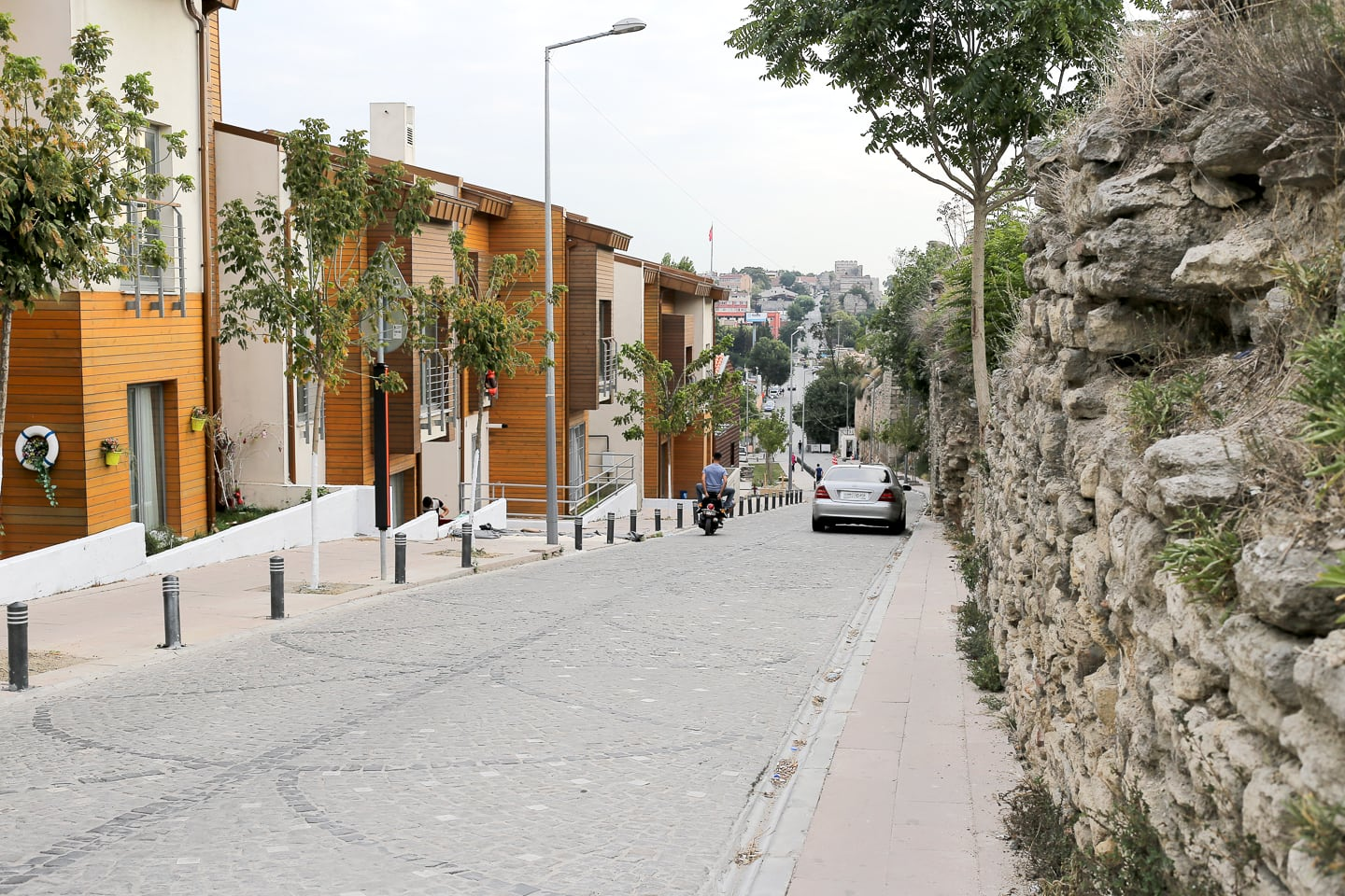 newly constructed homes face the Theodosian Walls