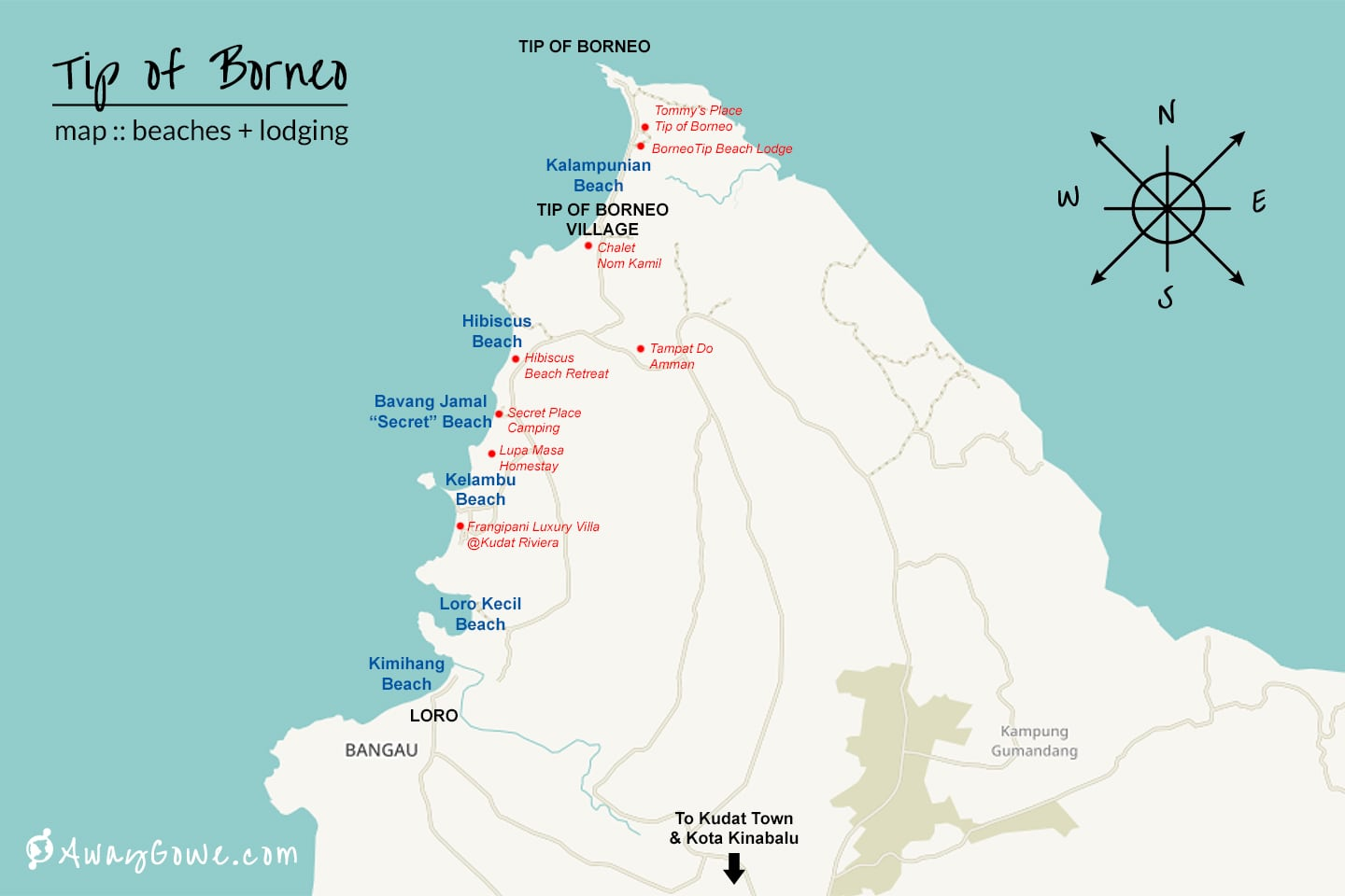 tip of borneo beach lodging map
