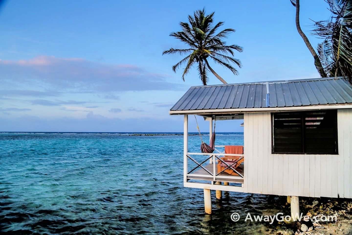 over-water stilted beach bungalow belize