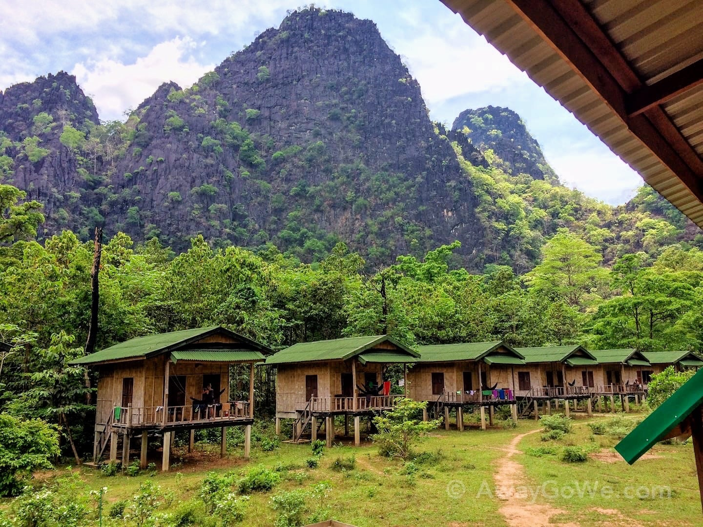 rock climbing lodge in jungle