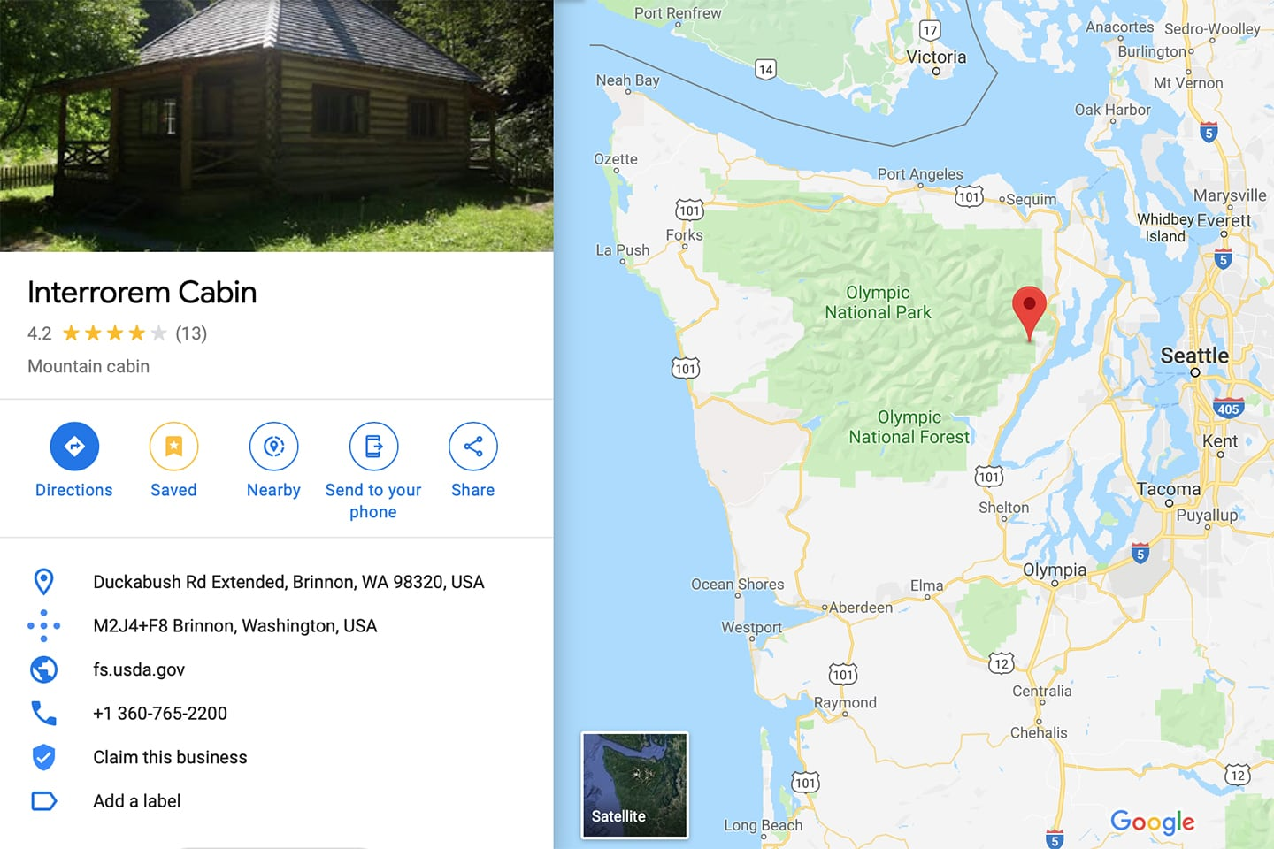 interrorem cabin olympic national park map