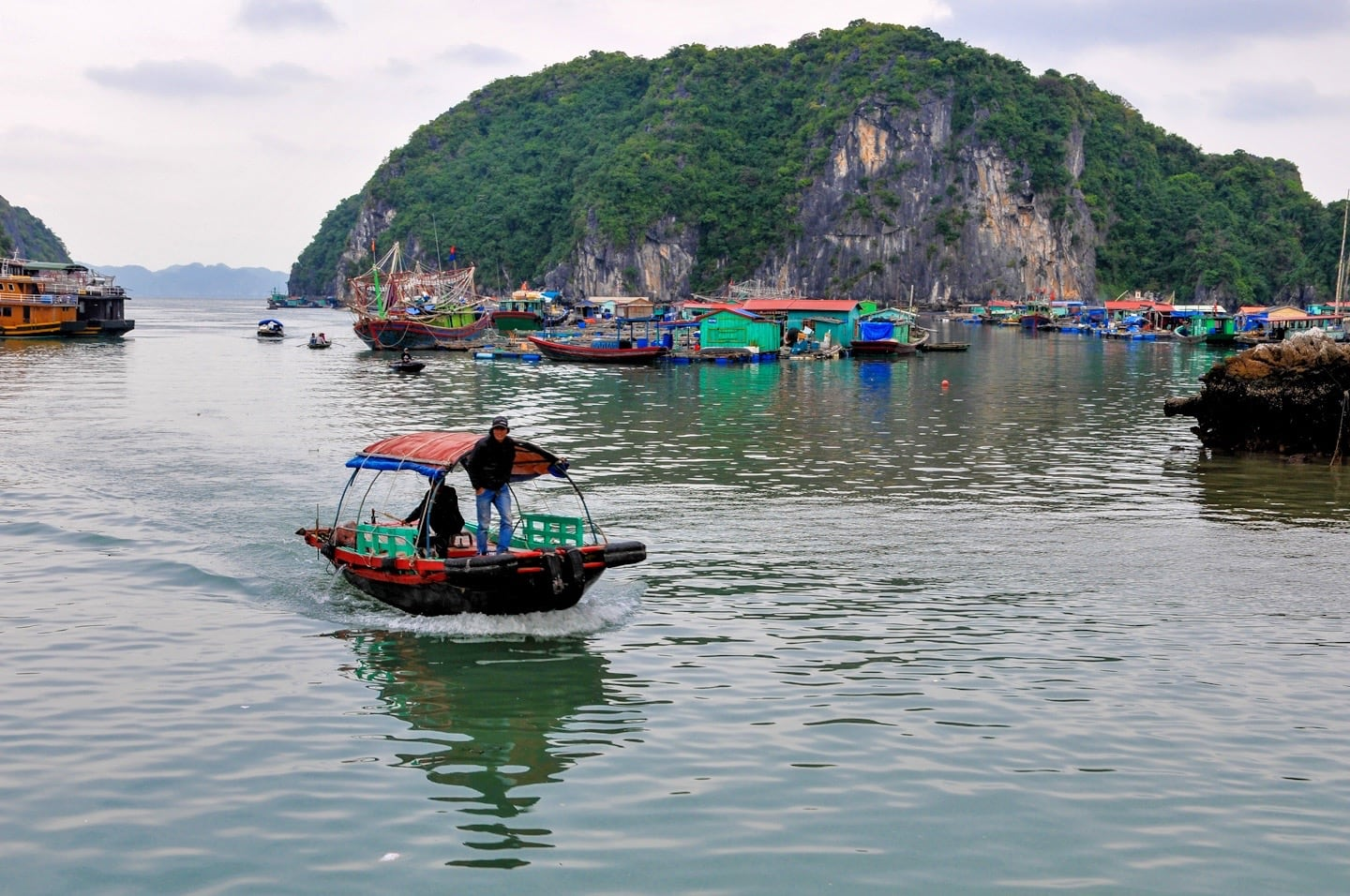 fishing boats village vietnam