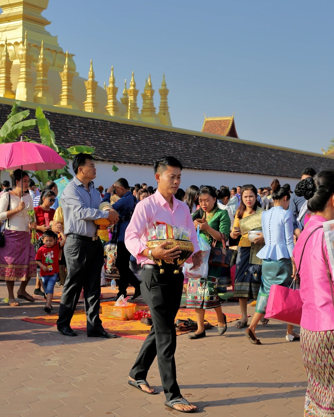offerings at that luang festival laos