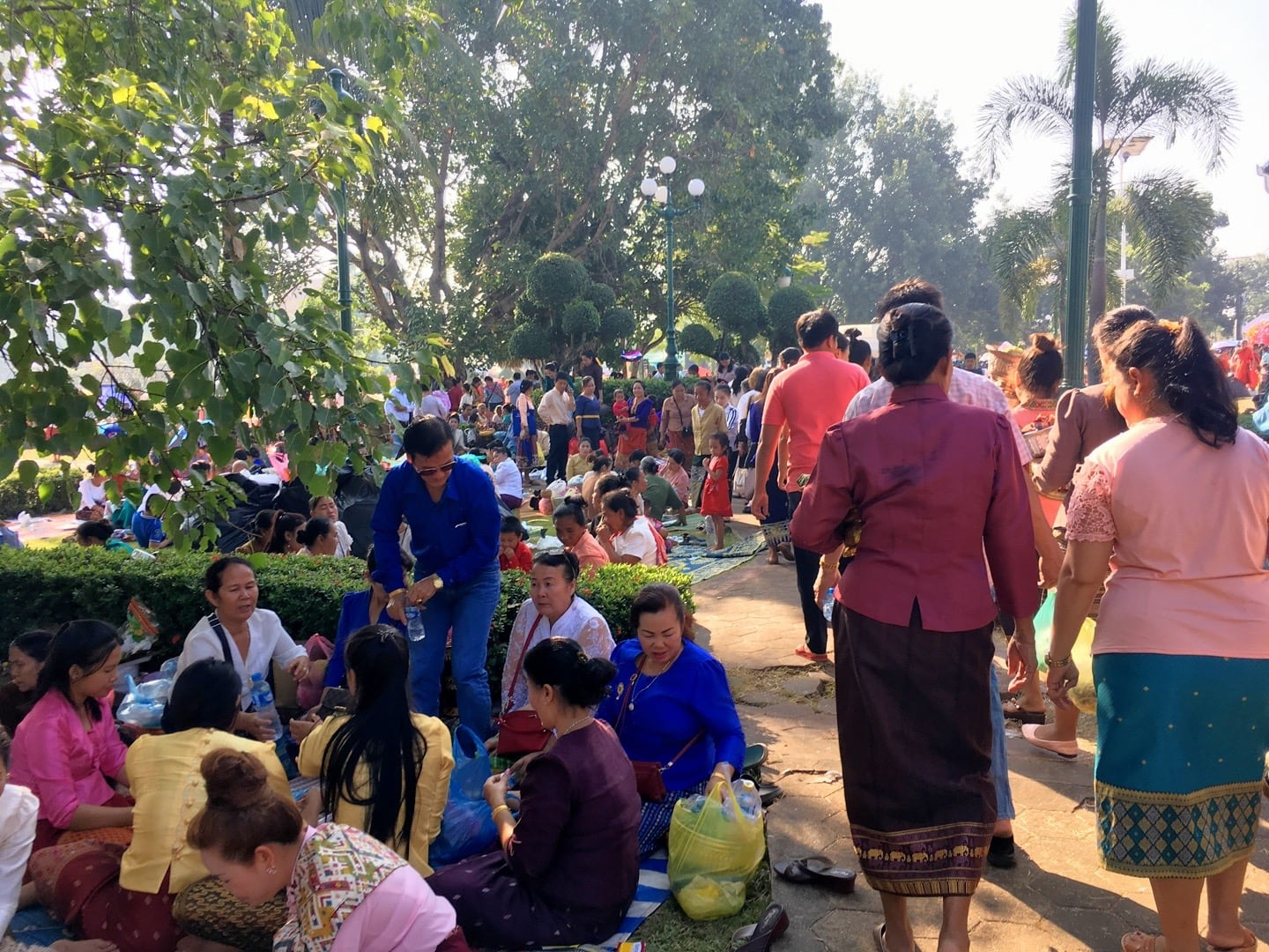 families gathered for a picnic in Vientiane Laos