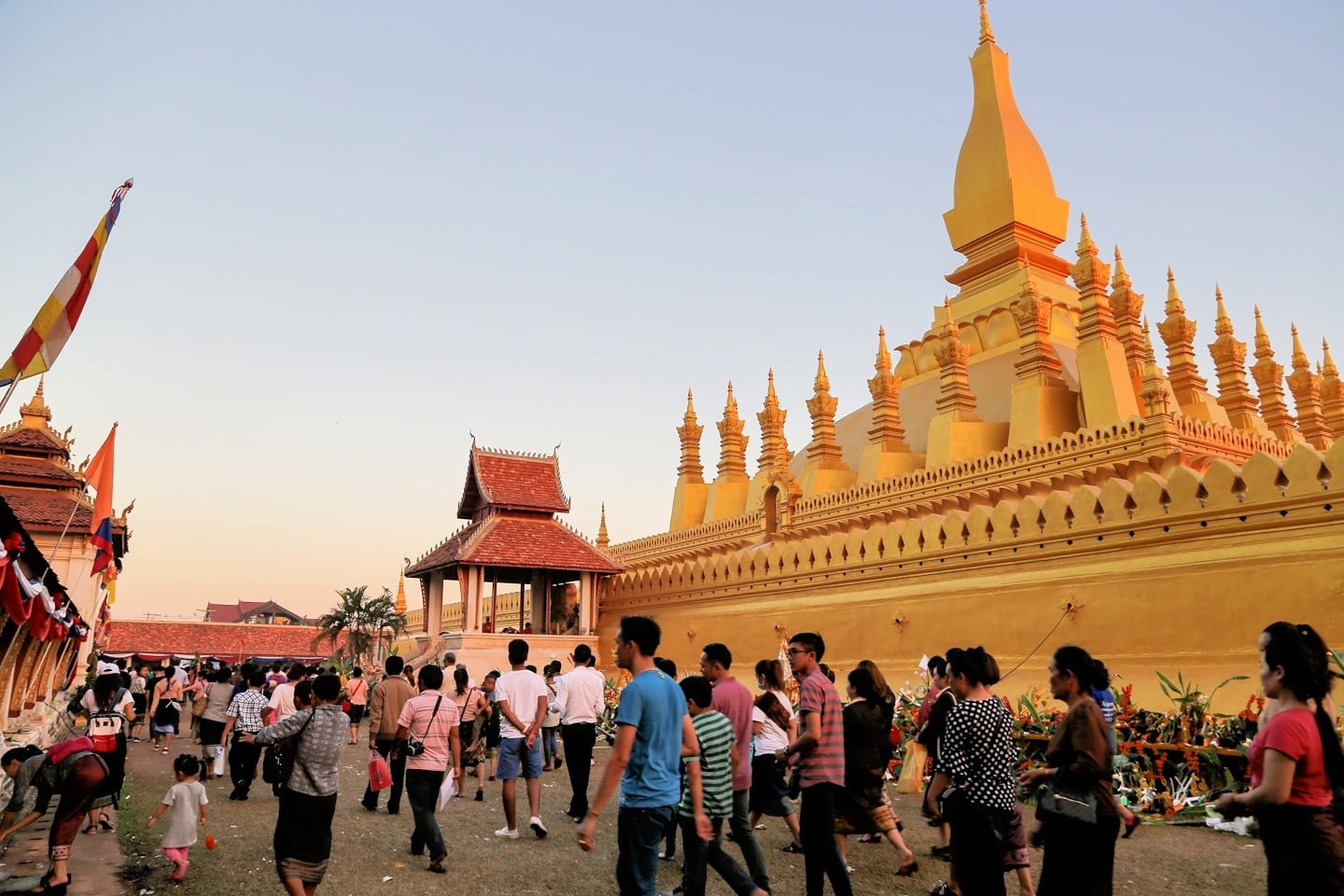 process around That Luang stupa in Vientiane