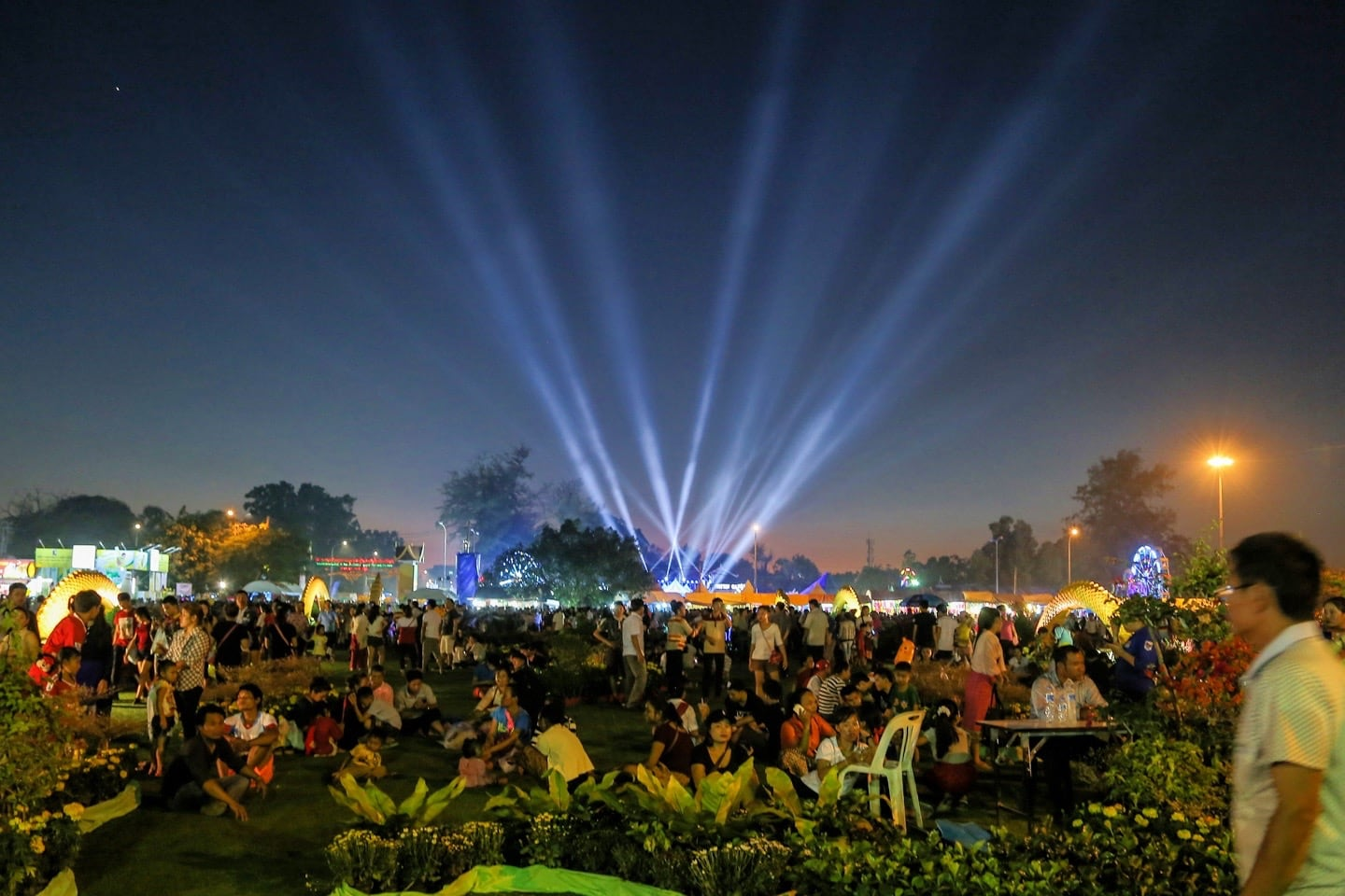 lights over crowd at festival in Laos