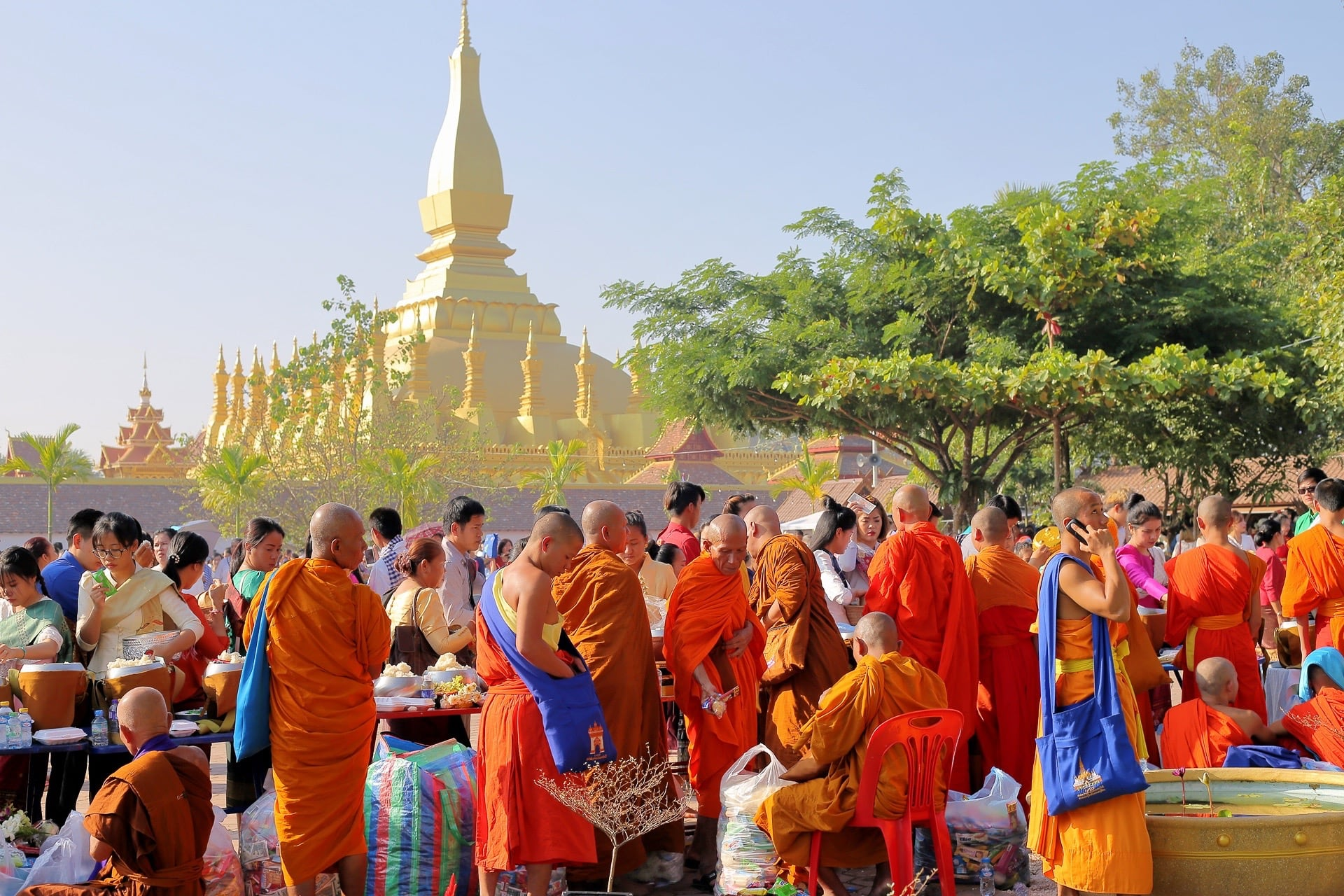 that luang festival saffron clad monks