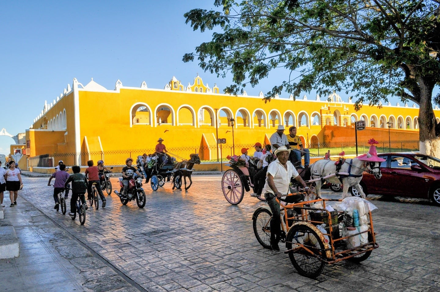 Horse drawn carriage in Izamal Mexico