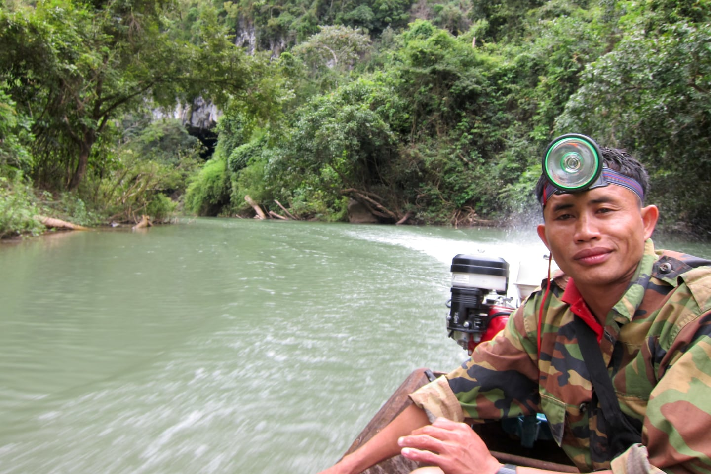 boat driver on Nam Hinboun