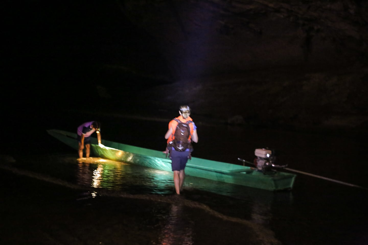 boarding longtail boat in Kong Lor Cave