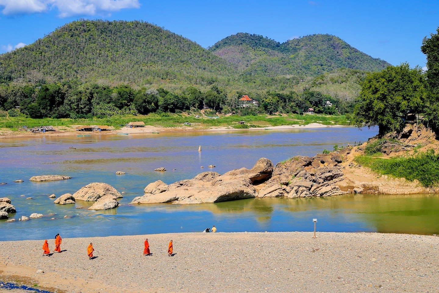 Buddhist monks Laos Mekong River