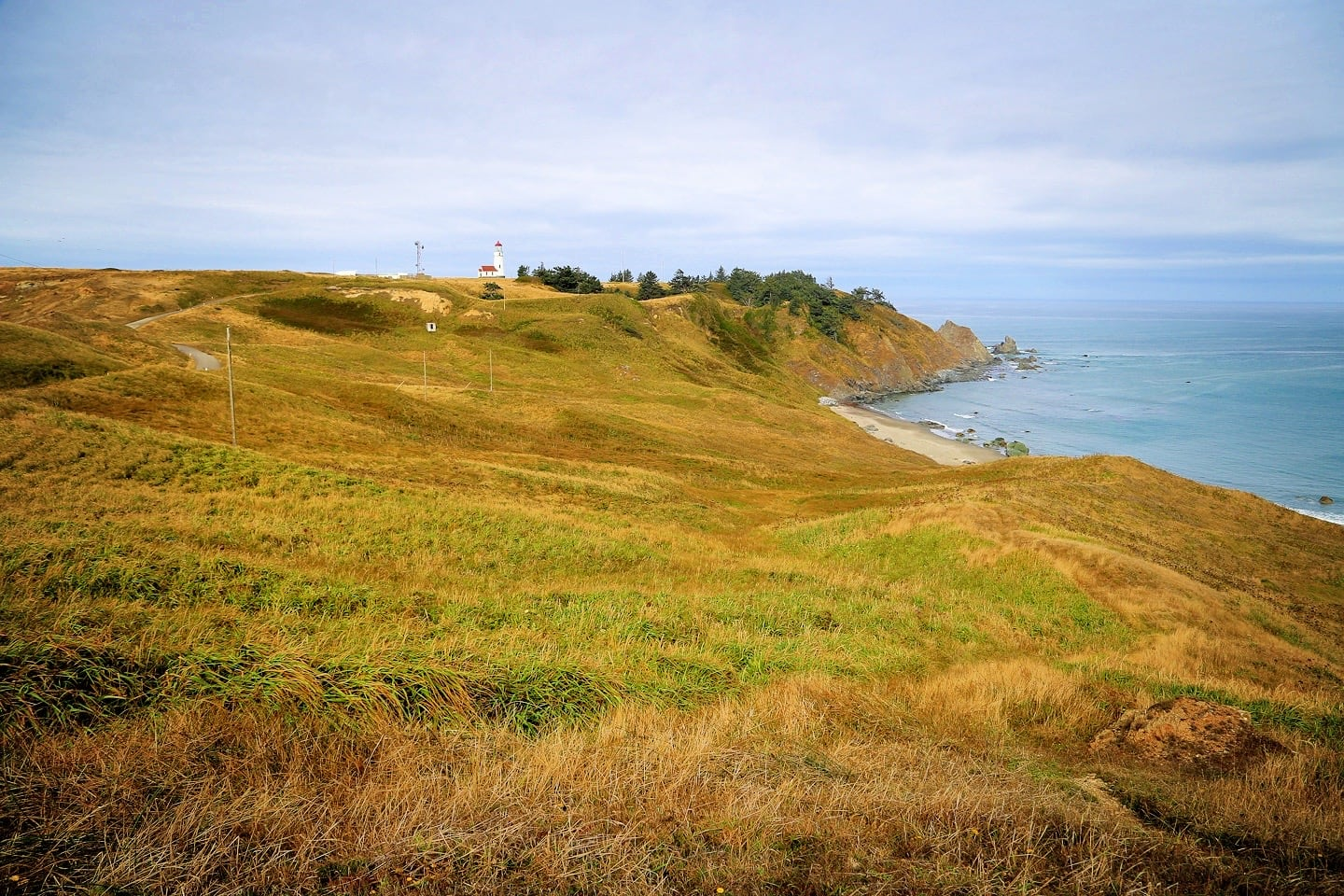 Cape Blanco Lighthouse on bluff overlooking ocean