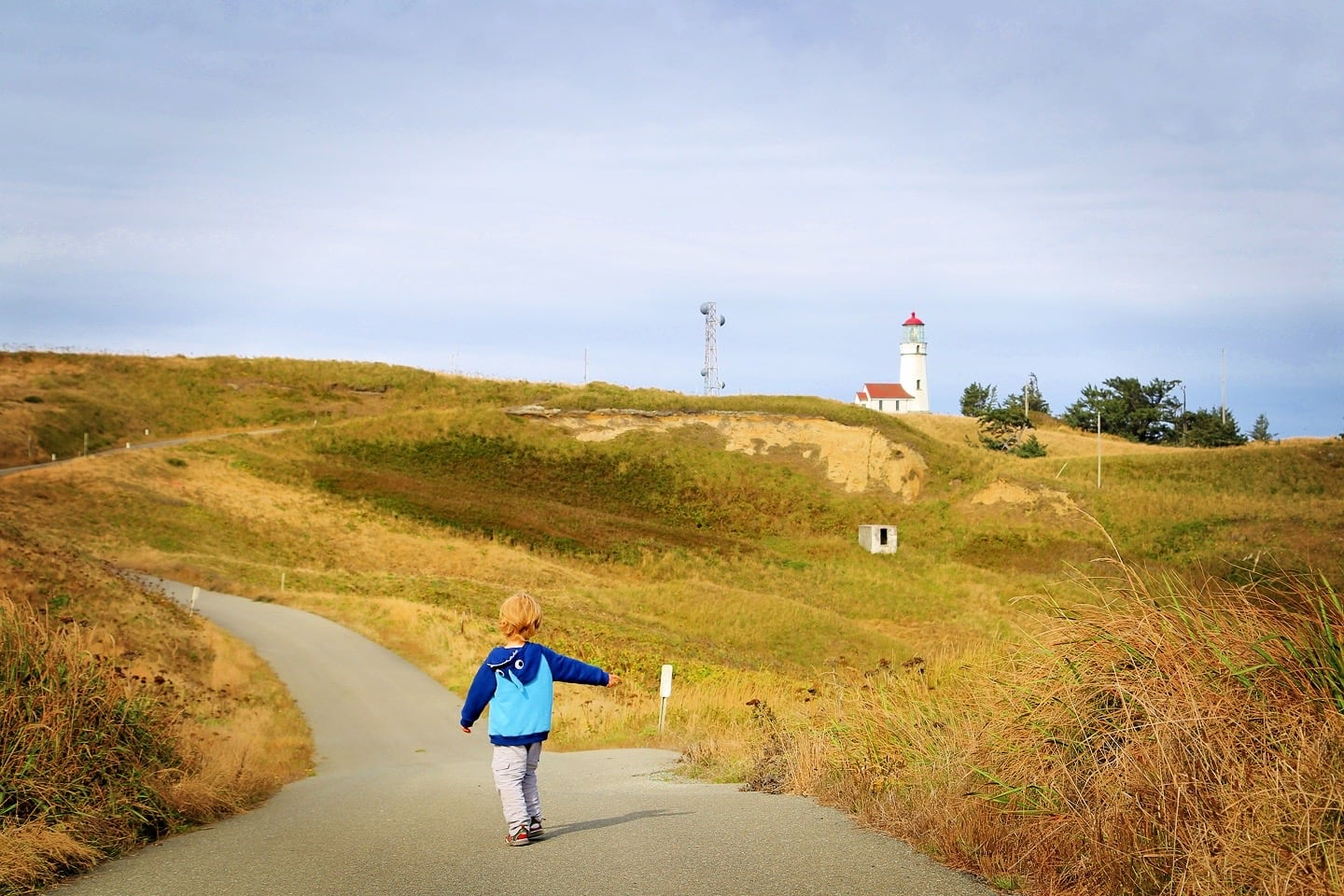 Cape Blanco Lighthouse small child walking