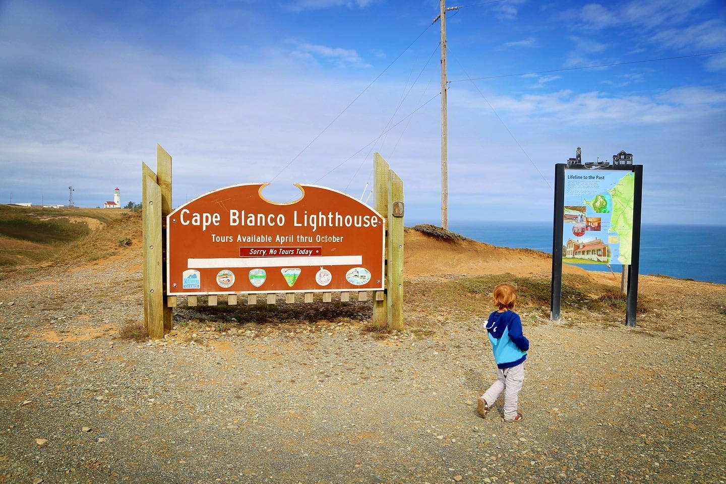 Cape Blanco State Park sign and Pacific Ocean