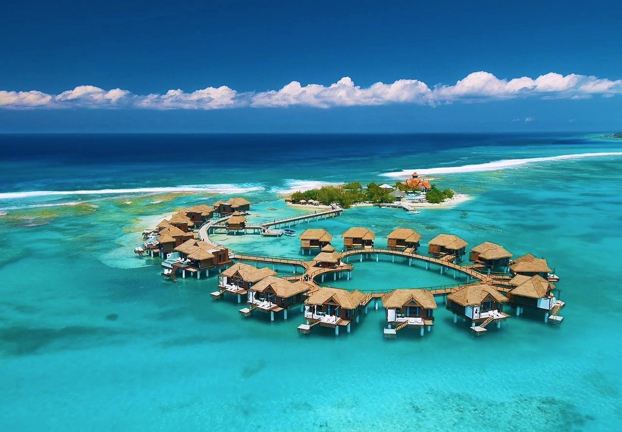 Best overwater bungalows Caribbean Sandals Royal Caribbean Resort Montego Bay Jamaica